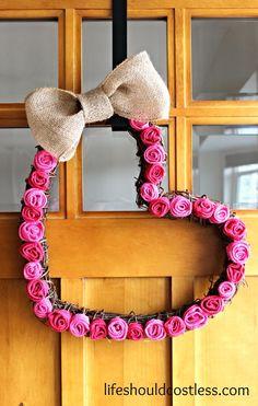 Burlap Rosette Valentines Day Heart Wreath with basic tutorial.{lifeshouldcostless.com}