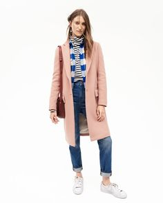 Madewell's Fall pink coat, plaid shirt, and boyfriend jeans.