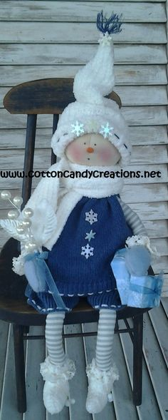 Primitive Christmas Snow Girl Cora by CCCPrimitives on Etsy, $28.00