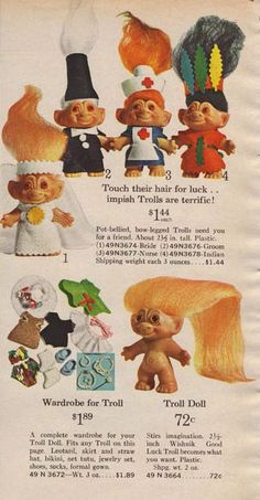 Vintage Troll advertising Vintage Toys 1960s, 1960s Toys, Retro Toys, Vintage Dolls, Vintage Ads, 1970s Dolls, Vintage Paper, My Childhood Memories, Childhood Toys