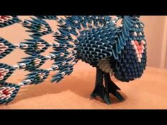 3D origami blue peacock - YouTube