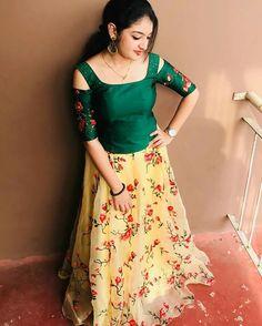 Actress Hot Navel Pics: Malavika Nair Ammu Hot And Cute Photos Long Skirt Top Designs, Long Skirt And Top, Long Dress Design, Dress Neck Designs, Long Skirts, Half Saree Lehenga, Lehnga Dress, Frock Dress, Dress Skirt