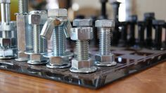 #DIY chess board with nuts and bolts. Great gift idea for Dad!