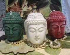 White Beeswax Buddha Head Candle by catfishcreekcandles on Etsy
