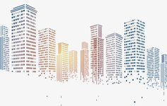 Geometric squares particles pixelated city building, Building Blocks, Geometry, Gradient Style PNG Image and Clipart