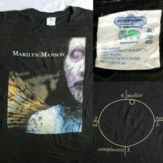 """Vintage 1997 Marilyn Manson Antichrist Super  Star Album Cover T-shirt Size XL RARE $85 PayPal Only Free Shipping!! Worldwide XL 23.5""""x 28"""" (sleeves 8"""") For more pics please dm.  #vintage #1997 #marilynmanson #antichrist #superstar #tshirt #tshirts #xl #rare"""