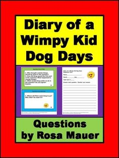 Diary of a Wimpy Kid Dog Days by Jeff Kinney: Receive a task card with one to three questions for each entry of the story. Response forms for students and suggested answers are provided for the teacher. Download the free sample so you know what to expect.