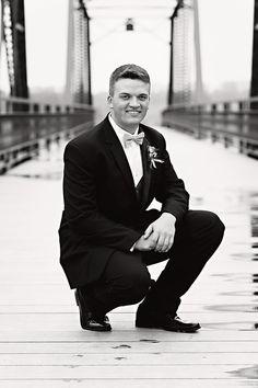 Prom - Prom Portrait Ideas - Prom Photo - Prom Guy Poses - Breezy Hill Portraits - Koteewi Park - White River Bridge - Black and White