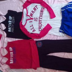 """Vs nightgown ONLY Red and white baseball night gown with bling goood used condition """"ALL I WANT IS EVERYTHING"""" im 5'5 and this was prob fingertip length very comfy. Everything else in pic is not available already been traded or sold. Victoria's Secret Intimates & Sleepwear"""