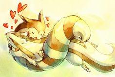 Pokemon: Furret hugging Linoone
