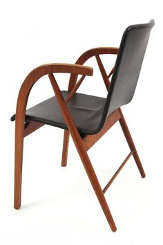 Kipp Stewart Walnut & Leather Occasional Chair | red modern furniture