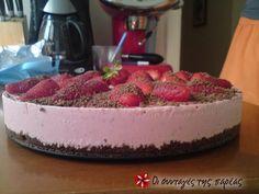 Παγωμένο τσιζκεικ φράουλας με cookies σοκολάτας #sintagespareas