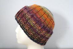 Hand Knit Mens Hat Merino Wool Beanie Cap Watch Cap by Girlpower, $42.00