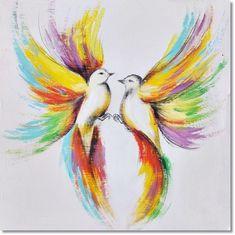 Twee dansende en verliefde vogels.Let eens op de mooie kleuren die de kunstenaar aan de vogels heeft gegeven.
