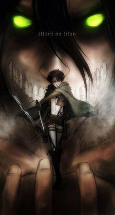 Levi and Eren ( in his titan form ) - Attack on Titan / Shingeki no Kyojin