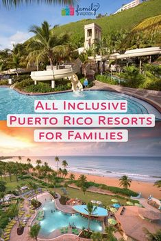 """While Puerto Rico doesn't have any """"true"""" all-inclusives, these kid-friendly resorts offer all-inclusive packages the whole family will enjoy. Here are the best Puerto Rico resorts will all-inclusive experiences. Puerto Rico Trip, San Juan Puerto Rico, History Of Puerto Rico, All Inclusive Family Resorts, Family Vacations, Family Trips, Family Travel, Beach Hotels, Beach Resorts"""