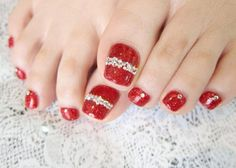 Red toenail Pedicure Nail Art Design