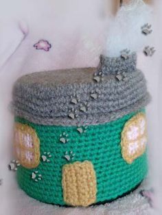 Guarda-cds casita  (para ver más ir al blog) #crochet #ganchillo #lana #diy