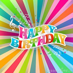 Happy Birthday art card, Color Sunburst