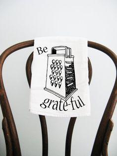 Be Grateful Flour Sack Towel by badbatdesigns on Etsy, $10.00