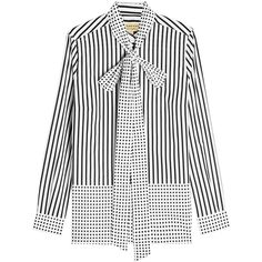 Burberry Guillemot Cotton Blouse (670 AUD) ❤ liked on Polyvore featuring tops, blouses, stripes, burberry shirt, striped shirt, white polka dot blouse, graphic shirts and white top