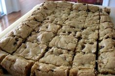 Big thick ooey gooey... Thick and Chewy Chocolate Chip Bars! Enjoy! I added unsweetened coconut, halved the recipe, and used ener-g egg replacer for 2 eggs. Thick Chocolate Chip Cookie Recipe, Chocolate Chip Blondies, Brownie Cookies, Cookie Bars, Breakfast Dessert, Carrot Cake, Just Desserts, Delicious Desserts, Cake Recipes