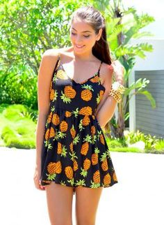 Black Playsuit with Pineapple Print & Pom Pom Hem