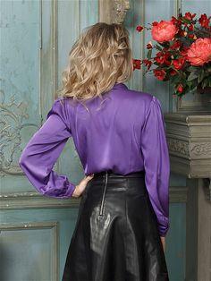 Блузка Magic Style. Цвет сиреневый. Вид 3. Real Leather Skirt, Leather Skirts, Hot Pants, Sexy Outfits, Ruffles, Fashion, Fashion Styles, Moda, Fashion Illustrations