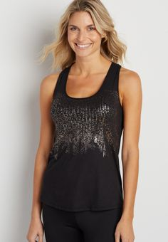 drape back tank with built-in sport bra and metallic graphic (original price, $29.00) available at #Maurices