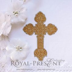 Machine Embroidery Design Beautiful ornate cross - 2 sizes