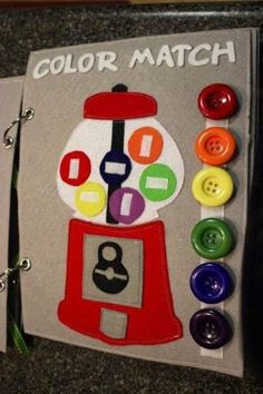 Way to bind quiet book.Gumball color match-quiet book (no pattern but a cute idea) Diy Quiet Books, Baby Quiet Book, Felt Quiet Books, Quiet Book For Toddlers, Baby Crafts, Felt Crafts, Diy For Kids, Crafts For Kids, Toddler Crafts