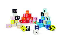 Janod 4508065 - Kubix - 40 Würfel, Buchstaben und Zahlen, bunt: Amazon.de: Spielzeug