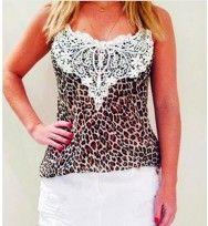 Blusa Leopard com Renda