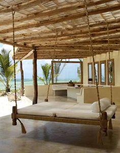 Hanging beach hammock bed