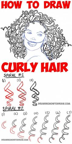 How to Draw Curly Hair : Drawing Spiral Curls Tutorial
