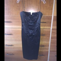 Nicole Miller heavy stretch satin sheath dress. Never altered Nicole Miller dress. Can be worn with the thin lingerie straps or cut straps and wear strapless. Ruched front is perfect to enhance your figure and hide any imperfections. Nicole Miller Dresses Prom