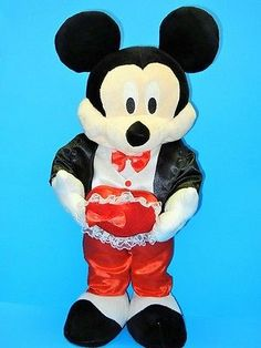 Disney Valentines Day Stuffed Plush Standing Mickey Mouse In Tuxedo Heart 24in