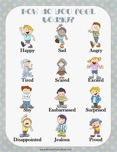 """chart that reads """"How do you feel today?"""" with 12 pictures of kids showing different emotions Feelings List, Feelings Games, List Of Emotions, Emotions Cards, Feelings Chart, Feelings Activities, Feelings Words, Different Emotions, Feelings And Emotions"""
