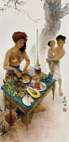 Rojak Seller, by Lee Man Fong Bali Painting, Chinese Painting, Indonesian Art, T Art, Famous Artists, Artist At Work, Female Art, Sculpture Art, Art Drawings