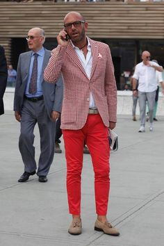 Pitti Uomo 2013 June. Lose the loafers and that hideous surfer necklace.