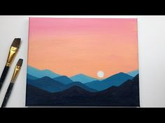 Sunset & mountains sunset acrylic painting tutorial for beginners step by step s Easy Canvas Art, Simple Canvas Paintings, Small Canvas Art, Easy Canvas Painting, Acrylic Painting Tutorials, Acrylic Canvas, Diy Canvas, Easy Cool Art, Painting Tips