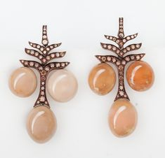 Hemmerle earrings - conch pearls, diamonds, copper and rose gold