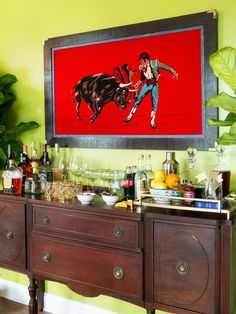 Use a buffet or desk as a cocktail bar: http://www.hgtv.com/entertaining/turn-a-buffet-or-desk-into-a-cocktail-bar/pictures/index.html?soc=pinterest