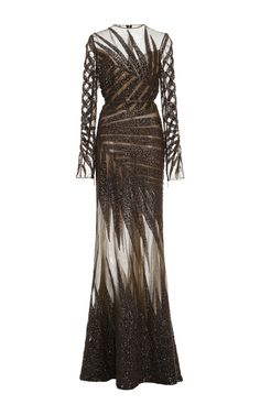 Bead Embroidery and Tulle Long Sleeve Gown by Elie Saab for Preorder on Moda Operandi