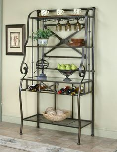 sleek designer bakers racks furniture | Photo of Antique Copper/Glass Baker's Rack (Dining Accessories, Curios ...