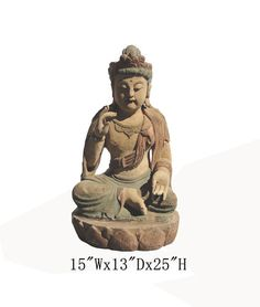 """Chinese Antique Wooden Carving Sitting Peaceful KwanYin Statue WK2455    This is a Chinese antique wooden KwanYin statue which is made of solid elm wood.  Look at the peaceful face and sitting on lotus position, it is perfect to put at your entrance of hall way.  Especially, her hands are removable.  Outside Dimensions: 15""""Wx13""""Dx25""""H  Origin: Northern China  Material: Solid Elm Wood"""