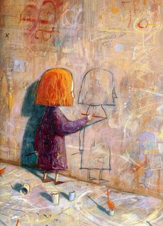 Childhood Graffiti  by Shaun Tan I imagined if she had continued...she would be drawing a girl who was drawing a girl who was drawing...  Lol!