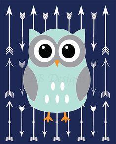 Aqua and Navy Blue Owl Woodland Nursery Print 8x10 by LJBrodock Owl Nursery, Fox Nursery, Boy Nursery Decor
