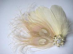 Wedding Bridal Ivory Champagne Peacock Feather Pearl Rhinestone Jewel Head Piece Hair Clip Fascinator Accessory. $35.00, via Etsy.