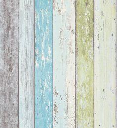 Papel pintado imitación madera decapada turquesa estilo tropical - Madeira 3 453157